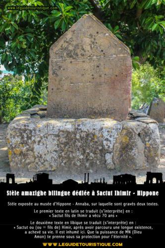 Stèle amazigh bilingue dédiée à Sactut Ihimir - Hippone