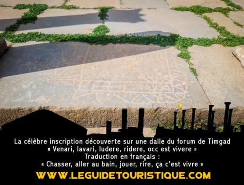 Inscription sur la dalle du forum de Timgad